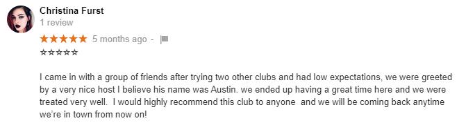 Reviews on google for Cheetahs Las Vegas